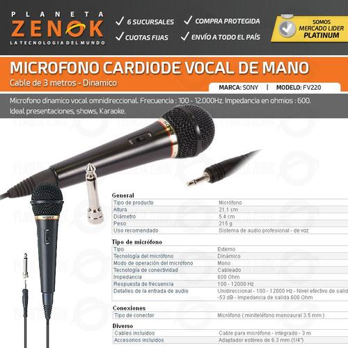 microfono dinamico vocal de mano sony fv-220 karaoke canto