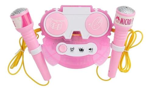 microfono doble karaoke infantil luces fiesta niñas niños