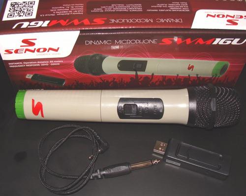 micrófono inalambrico con base y fuente por usb