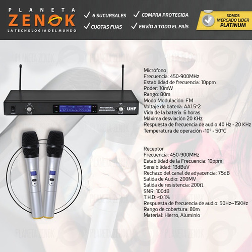 microfono inalambrico de mano doble uhf karaoke 80 metros