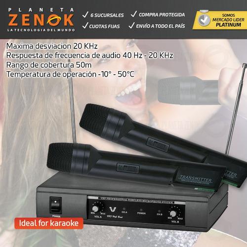 microfono inalambrico de mano doble vhf karaoke 50 metros