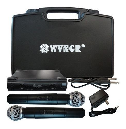 microfono inalambrico doble profesional uhf con estuche sm58