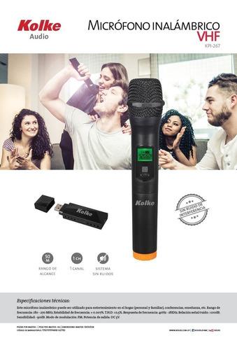 microfono inalambrico karaoke frec vhf conexion usb parlante