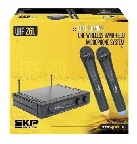 microfono inalambrico skp uhf 261 doble de mano 80 metros