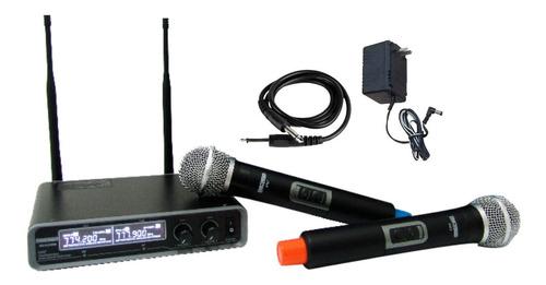 microfono inalambrico uhf doble de mano moon - la roca - cuotas
