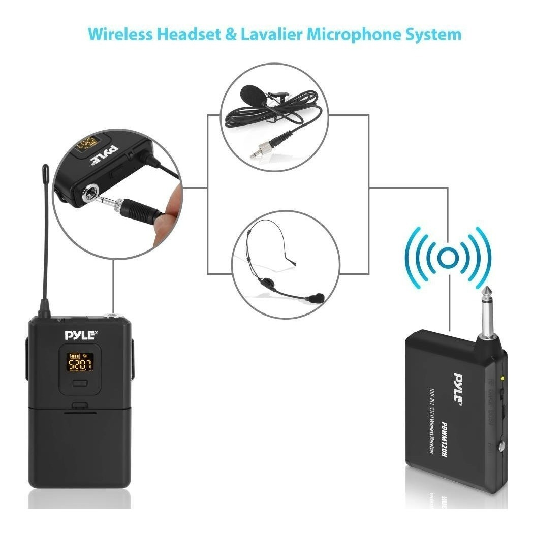 Sistema De Microfono Inalambrico Lavalier MIC Auriculares Transmisor Receptor