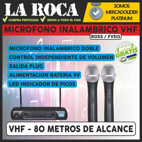 microfono inalambrico vhf doble de mano parquer wr68vd