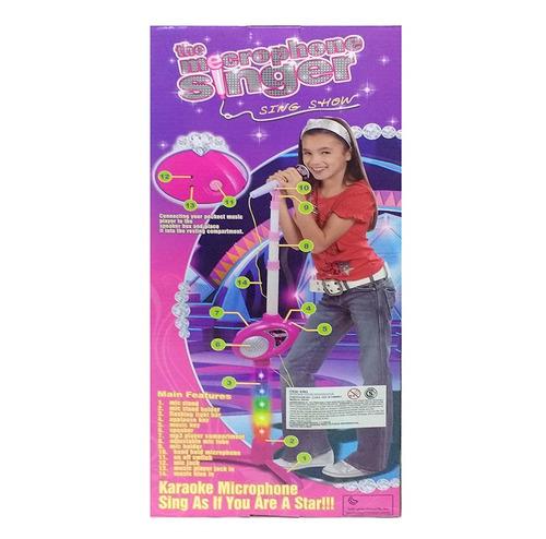 microfono infantil con pie karaoke musica mp3 luces rosa
