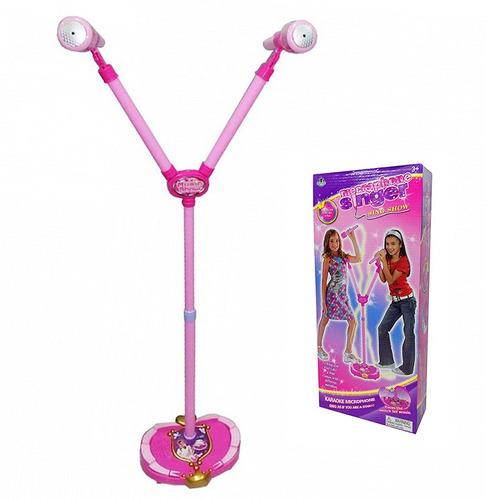 microfono infantil doble con pie karaoke musica rosa
