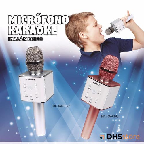 microfono karaoke bluetooth gris parlante ranser mc-ra70gr