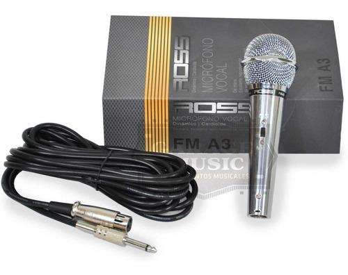 microfono karaoke ross fm a3 original dinamico vocal cable