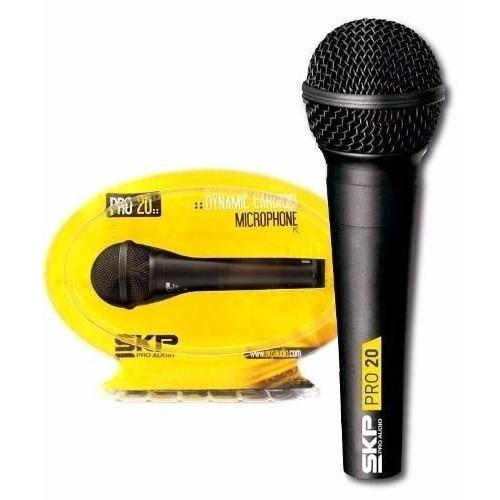 microfono karaoke skp pro20 dinamico vocal de mano cable voz