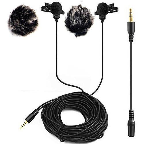 microfono lavalier de solapa de doble cabeza de 20 pies nica