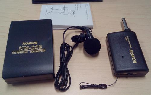 micrófono lavalier inalámbrico profesional kongin km-208