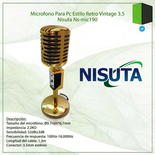 microfono para pc estilo retro vintage 3.5 nisuta ns-mic190