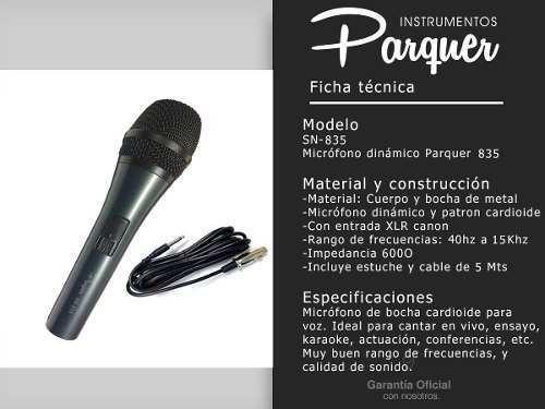 micrófono parquer 835 dinámico cardioide voz con cable cuota