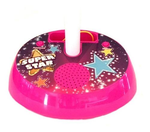 microfono pedestal doble juguete rosado musical parlante