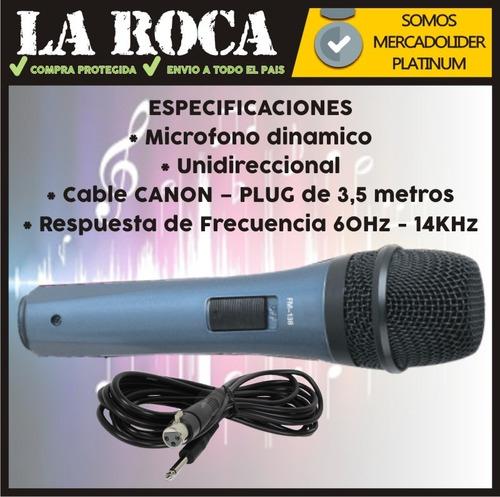 microfono ross fm138 para cantante karaoke con cable la roca