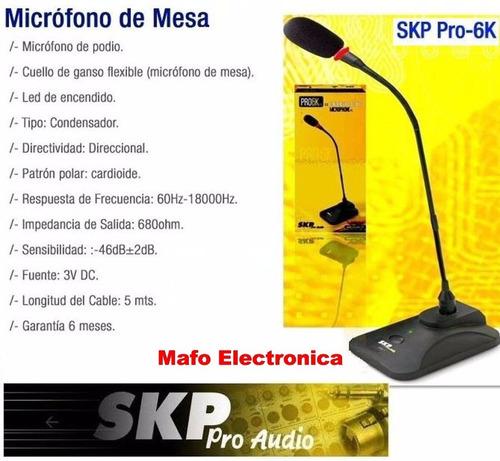 microfono skp modelo pro-6k mic de mesa cuello de ganzo