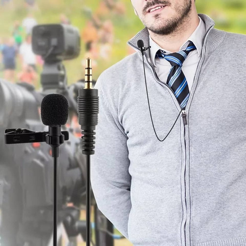micrófono solapa clip jack 3.5mm 1.5mt anti-ruido celular