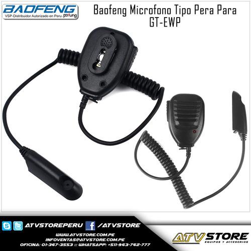 microfono tipo pera para baofeng gt-3wp /bf-a58/bf-9700
