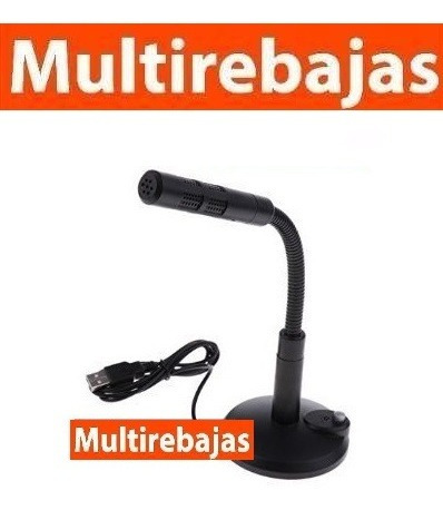 micrófono usb flexible pc laptop con soporte blanco negro