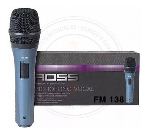 micrófono vocal ross fm138 cable plug/xlr ideal karaoke