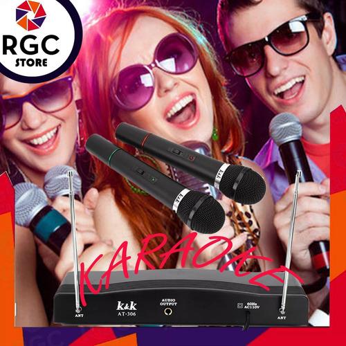 microfonos inalambricos de mano doble vhf karaoke set x 2