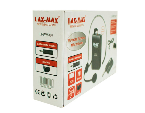 micrófonos inalámbricos lax-max li-wm307 diadema y solapa