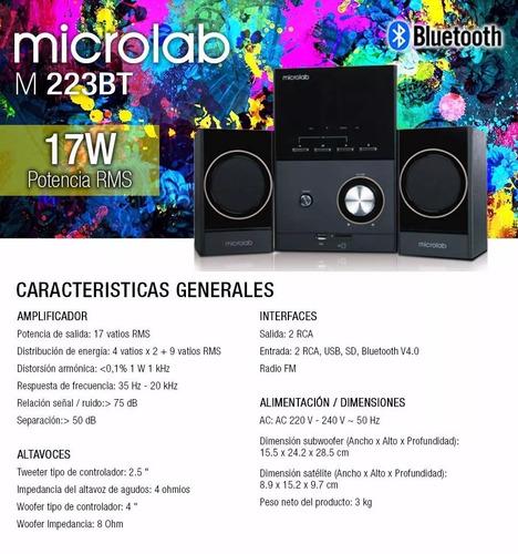 microlab m-223bt parlante 2.1 bluetooth 17w rms usb/sd slot