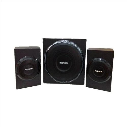 microlab m117 sistema de sonido 2.1 10w rms subwofer madera
