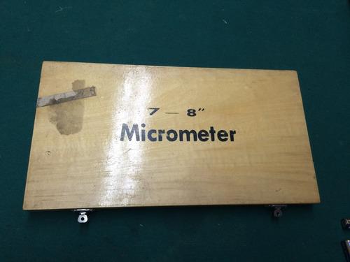 micrometro de exteriores 7 a 8 pulgadas no mitutoyo starrett