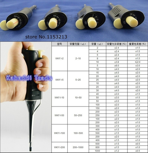 micropipetas automáticas 200 a 1000ul u-1000 china