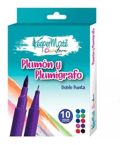 micropunta y punta pincel 2 en 1 caja x 10 unidades