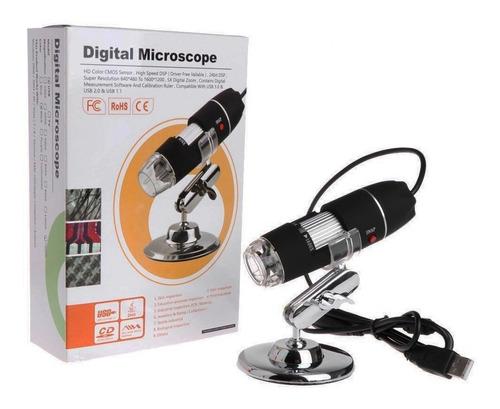 microscópio digital c/ led usb 500x zoom 2.0 mp pc notebook