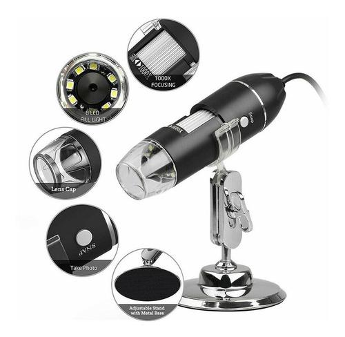 microscopio digital camara usb 1600x zoom 8 led 26vrdes