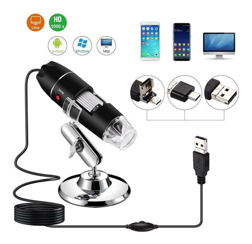 microscopio digital camara usb 1600x zoom 8 led rt193