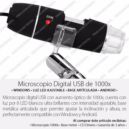 microscopio digital usb 1000x zoom optico hd 8 potentes leds
