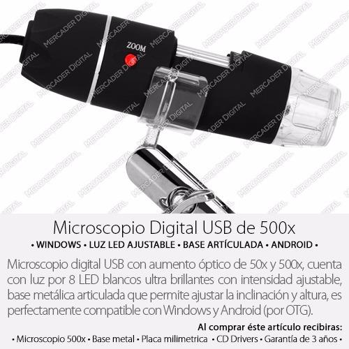 microscopio digital usb 500x zoom optico hd 8 potentes leds