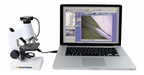 microscopio digital usb celestron kit optico 600x doble luz