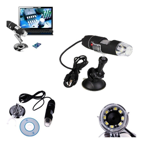 microscopio digital usb zoom 1000x 2mpx 8 luz leds pc mac