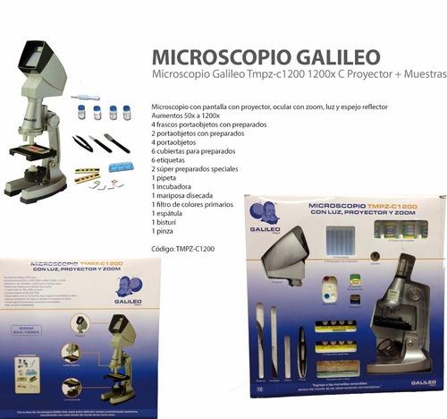 microscopio galileo tmpz-c1200 1200x c proyector + muestras