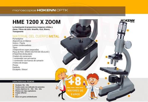 microscopio hokenn 1200x zoom luz accesorios visor
