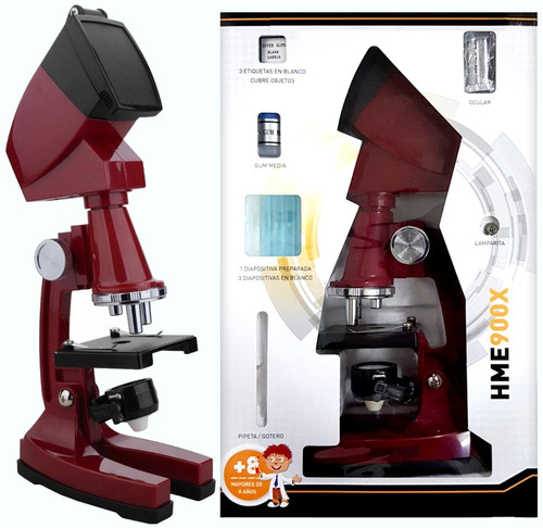 microscopio hokenn 900x zoom luz accesorios proyector niños
