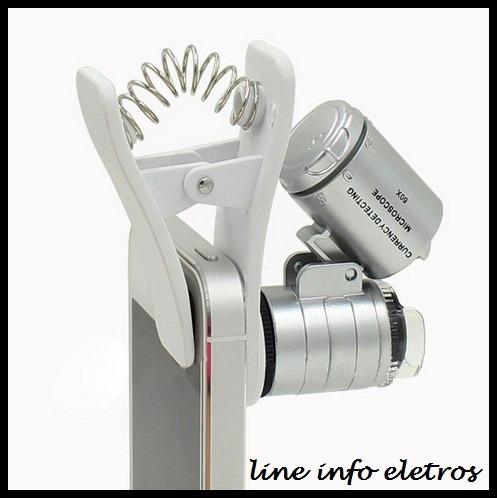 microscópio lupa para smarphone 60x + leds + brinde especial
