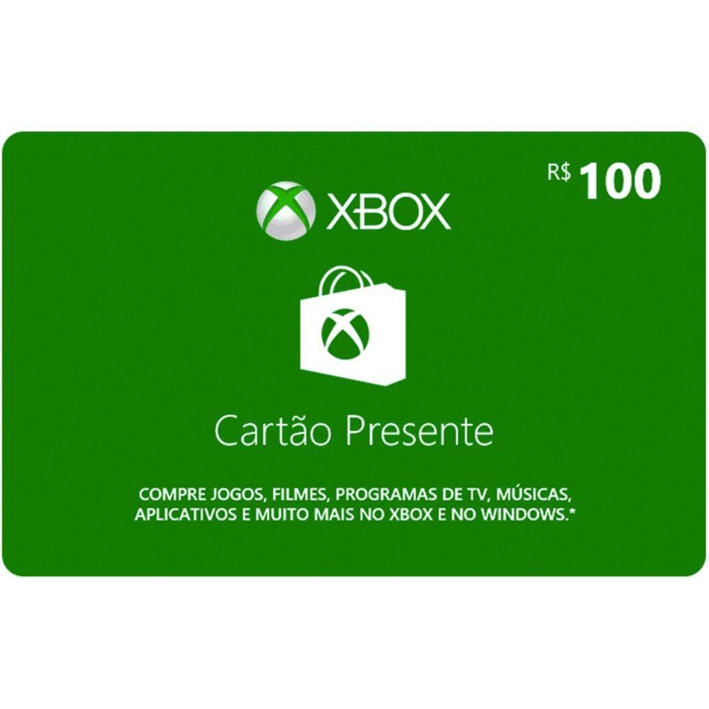 be1f707ff Microsoft Gift Card 100 Reais Cartão Presente Xbox Live Br - R  109 ...