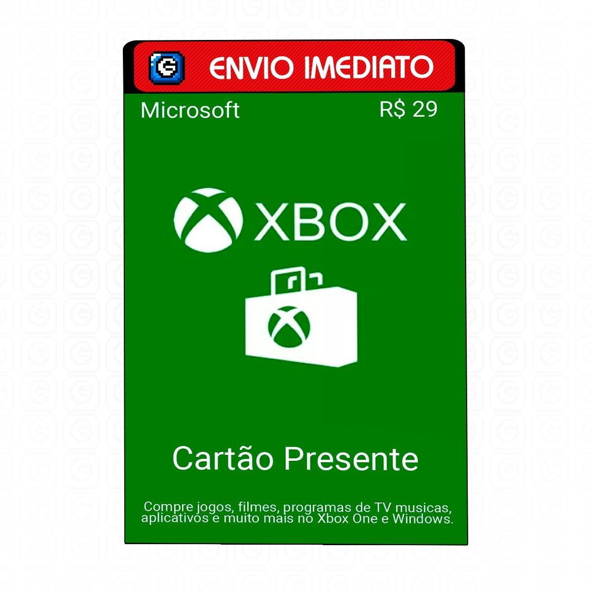 78cb32484 Microsoft Gift Card 29 Reais Cartão Presente Xbox Live Br - R  35