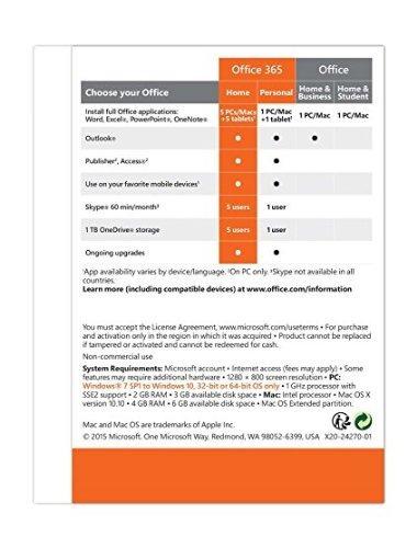 microsoft office 365 home 1 año | 5 pc o 5 mac key card