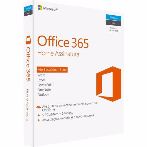 microsoft  office 365 home 5 licenças pc, mac, android e ios
