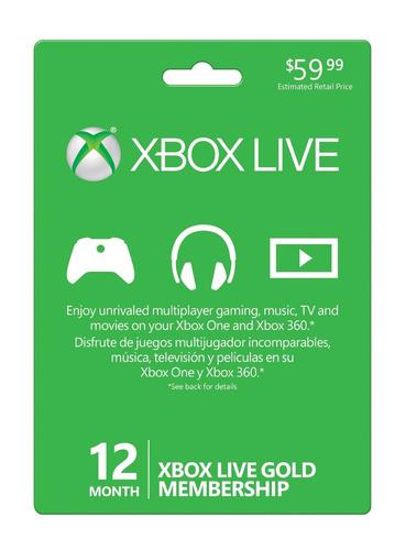 microsoft xbox live gold, membresia 12 meses multiregión!!!